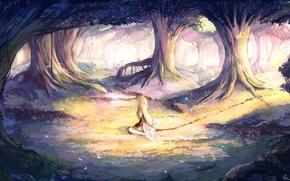 Картинка лес, девушка, деревья, природа, кровь, крылья, ангел, аниме, арт, венок