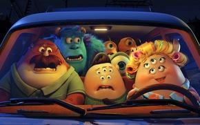 Картинка синий, зеленый, улыбка, одноглазый, Monsters University, Корпорация монстров, Университет монстров, Monsters, майк вазовский, Disney Pixar, …