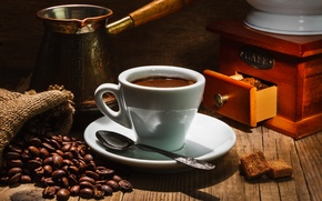 Картинка стол, кофе, ложка, чашка, блюдце, зёрна, мешочек, ящичек, турка