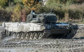 Обои маневры, дуло, танк, поле, боевой, Leopard 2, грязь