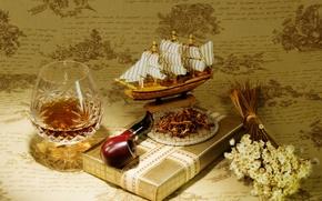 Обои подарок, модель, трубка, коньяк, табак, корабля, парусника