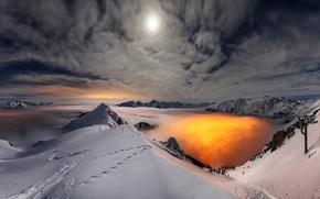 Картинка зима, небо, облака, снег, пейзаж, горы, природа