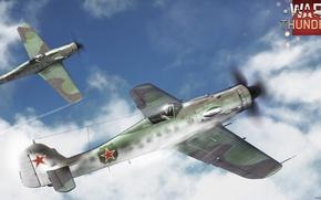 Картинка небо, облака, истребитель, Арт, поршневой, War Thunder, Fw.190D, ВВС Германии, неметский