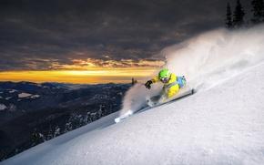 Картинка снег, горы, спуск, лыжник
