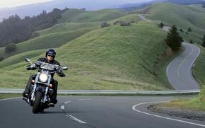 Картинка Мотоцикл, Harley Davidson, Серпантин, Дорога