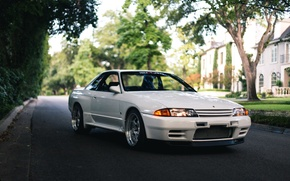 Картинка nissan, turbo, white, skyline, japan, jdm, tuning, gtr, front, face, r32, nismo, datsun