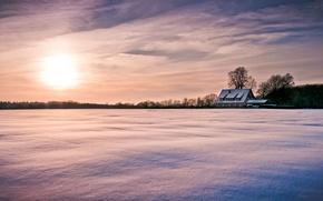 Картинка snow, широкоэкранные, зима, HD wallpapers, обои, дерево, домик, полноэкранные, солнце, background, облака, широкоформатные, снег, фон, ...