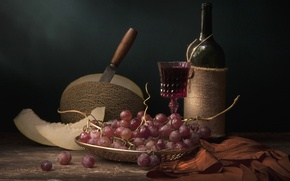 Картинка вино, виноград, натюрморт, дыня