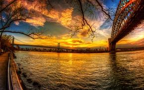 Картинка небо, закат, мост, река