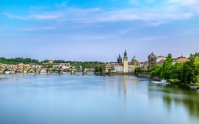 Картинка мост, река, Прага, Чехия, Prague, Карлов мост, Czech Republic, Charles Bridge, река Влтава, Vltava river