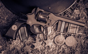 Картинка оружие, револьвер, медали, No2 Mk1, Enfield, «Энфилд», Броди шлем