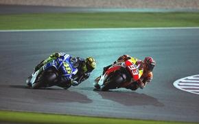 Картинка ночь, гонка, трасса, Мотоциклы
