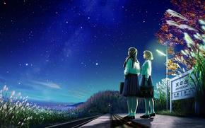 Картинка дорога, звезды, ночь, природа, девушки, знак, аниме, арт, форма, школьницы, kagaya