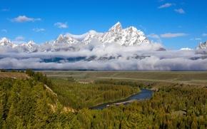 Картинка лес, небо, облака, снег, горы, река