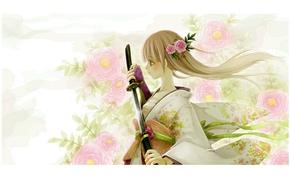 Картинка девушка, цветы, катана, кимоно, белые волосы, ножны