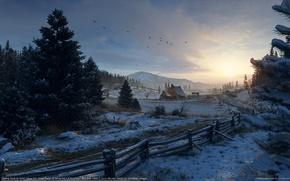 Обои снег, горы, зима, olivier vernay-kim, птицы, забор, дом, лес