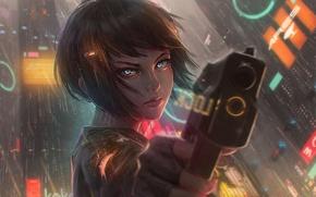 Обои девушка, город, пистолет, оружие, дождь, дома, аниме, арт, guweiz