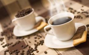Обои кофе, шоколад, печенье