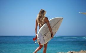 Картинка море, лето, девушка, водный скейтборд