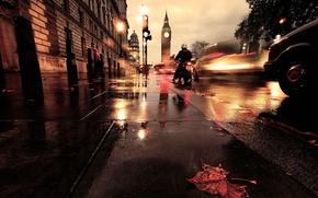 Картинка авто, лист, улица, Лондон, выдержка, мотоцикл, биг-бен