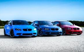 Обои bmw, m3, e92, red, blue, бмв, красный, синий