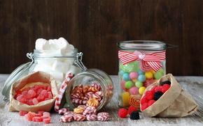 Обои сладости, конфеты, баночки, сахар, пакетики, маршмэллоу, леденцы, мармелад