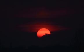 Картинка облака, тьма, луна, силуэт, луна в крови