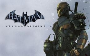 Картинка меч, маска, лого, броня, патроны, гранаты, наёмник, ассасин, Terminator, обойма, Терминатор, антигерой, Batman: Arkham Origins, …