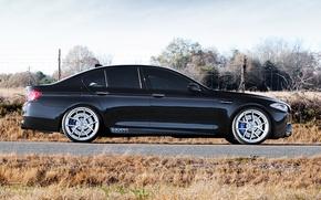 Картинка чёрный, бмв, BMW, профиль, диски, black, f10, тонированный