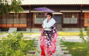 Обои лицо, зонтик, одежда, кимоно, азиатка