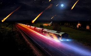 Обои ночь, огни, сияние, Поезд, метеорит