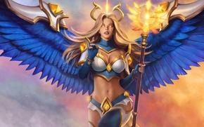 Картинка игра, крылья, ангел, посох, воительница, Juggernaut Wars, Ангелина Миресида