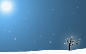 Картинка зима, солнце, снежинки, одинокое дерево