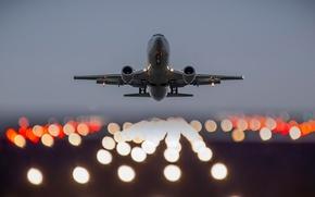 Картинка огни, самолёт, взлёт