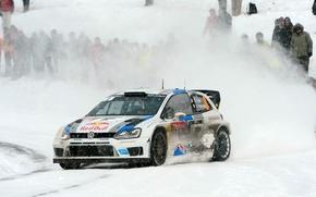 Картинка Зима, Авто, Белый, Снег, Спорт, Volkswagen, Машина, Red Bull, WRC, Rally, Ралли, Polo, Sebastien Ogier, …