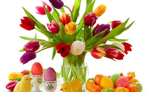 Картинка цветы, яйца, весна, colorful, пасха, тюльпаны, flowers, tulips, spring, крашеные, eggs, easter