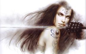 Обои Luis Royo, воин, арт, меч, девушка, оружие