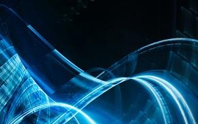 Картинка прозрачность, линии, синева, свечение, изгибы