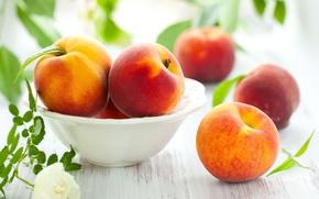 Картинка листья, фон, обои, еда, wallpaper, фрукты, персики, персик, широкоформатные, background, полноэкранные, HD wallpapers, нектарин, широкоэкранные