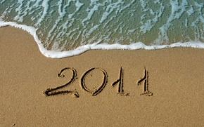 Картинка песок, море, вода, макро, океан, берег, новый год, цифры, цифра, пляжи, 2011 год