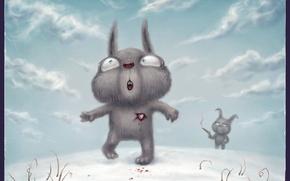 Обои любовь, Рисунок, выстрел, кролик