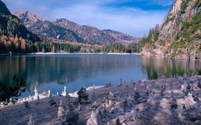 Картинка осень, горы, Италия, озеро Брайес