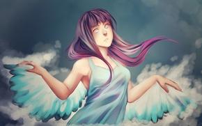 Картинка крылья, ангел, naruto, art, kunoichi, hinata hyugo, msblacktea
