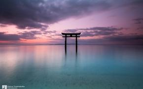 Картинка небо, облака, озеро, красота, Japan, photographer, тории, Kenji Yamamura, Lake Biwa