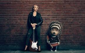 Картинка Scarlett Johansson, cinema, wall, guitar, woman, movie, animal, blonde, Ash, film, animated film, animated movie, …