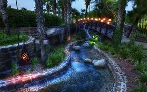 Картинка мост, ручей, лампы, Сказка, пальмовые деревья