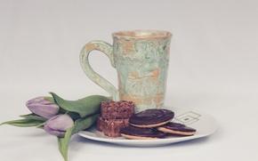 Картинка букет, печенье, тарелка, чашка, тюльпаны, выпечка