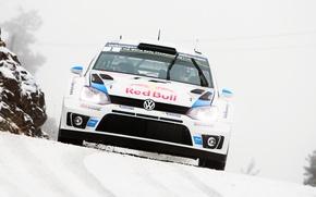 Картинка Зима, Авто, Белый, Снег, Volkswagen, Скорость, Лого, Red Bull, WRC, Rally, Передок, Polo