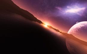 Картинка небо, вода, солнце, звезды, закат, горы, отражение, планета, арт, jkelly26