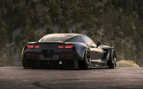 Картинка Corvette, Chevrolet, Car, Race, Black, Tuning, Future, by Khyzyl Saleem